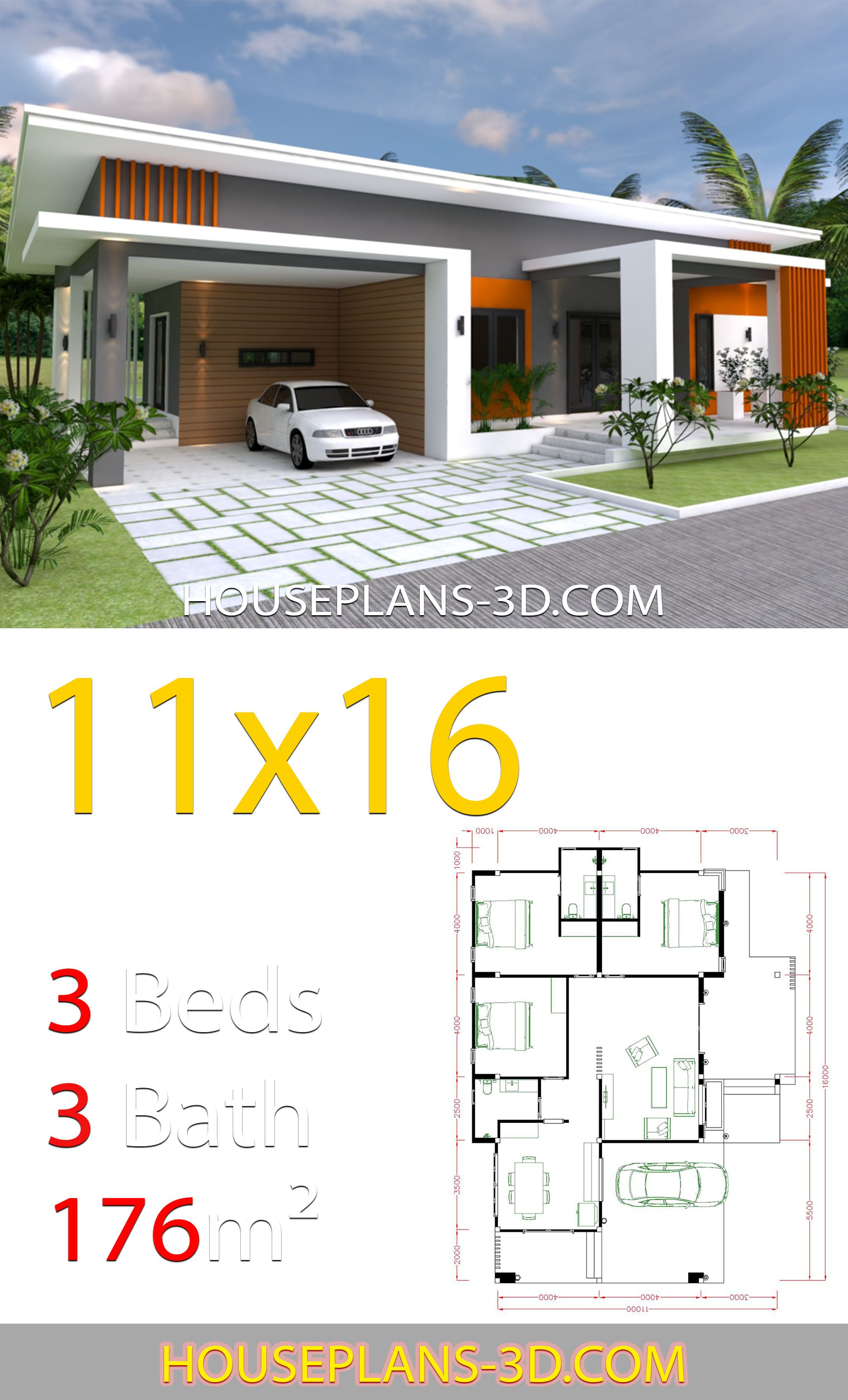 Home Design 11x16 With 3 Bedrooms Slop Roof House Plans 3d In 2020 Diy House Plans House Plans Affordable House Plans