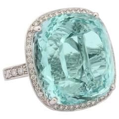 Faraone Mennella Aquamarine Diamonds Gold Ring