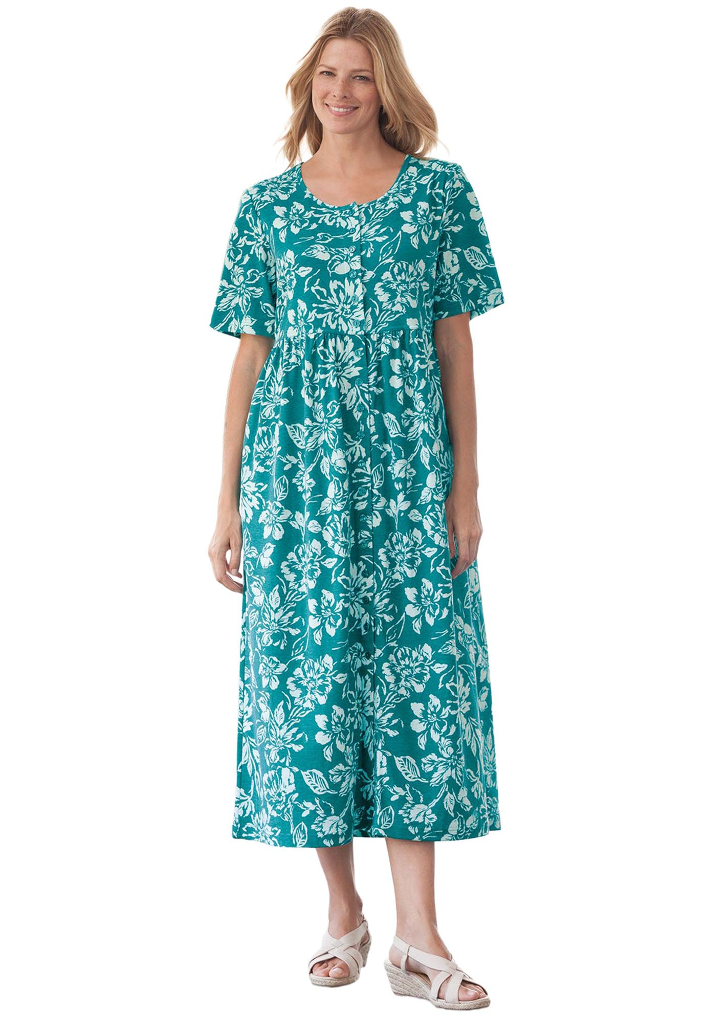 Dress With Button Front Empire Waist By Only Necessities Plus