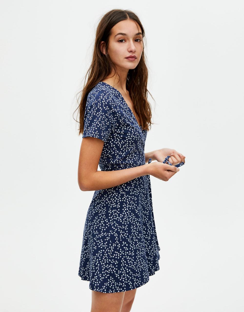 Floral Mini Dress Pull Bear Dresses Short Sleeve Mini Dress Mini Dress