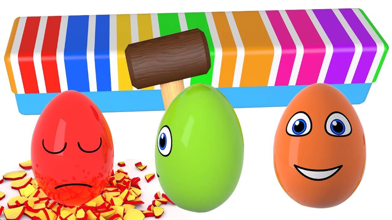 Learn colors Learn shapes Surprise eggs and Hammer 3D Cartoons for ...