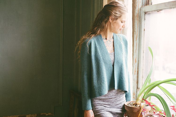 """Cardigan is worked from the top down.  Finished Measurements 30¼ (33¾, 37¼, 41, 44½, 48, 51½, 54¼, 57¾)"""" [77 (86, 94.5, 104, 113, 122,  131, 138, 146.5) cm] at bust; sample shown is 33¾"""" [86 cm] Yarn Canopy Worsted by The Fibre Company (50% baby alpaca, 30% merino wool + 20%  viscose from bamboo; 200 yds/100 g) •5 (5, 6, 6, 7, 7, 8, 8, 9) skeins in Quetzal Needles • One 16"""" and 32"""" circular or longer in sizes US 6 and 7 [4 and 4.5 mm] • One set of double-pointed needles in sizes US 6 and 7…"""