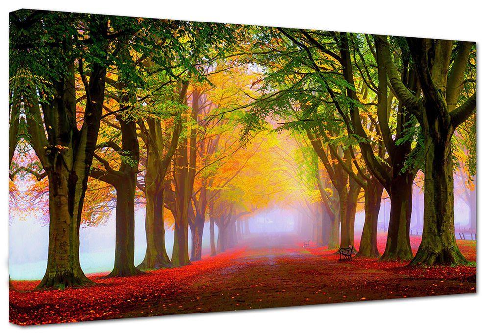 Quadro moderno paesaggio viale autunno tre misure arredamento casa