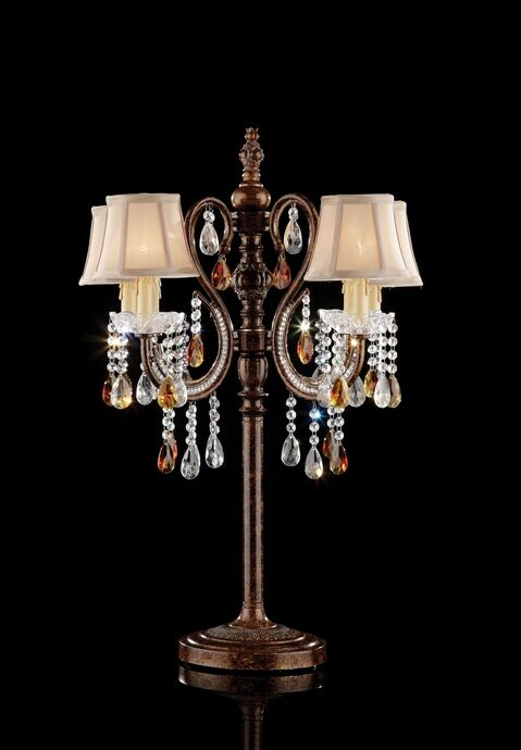 L95113t Christina Hanging Crystals Table Lamp With 4 Tapered Lamp Shades Table Lamp Brown Table Lamps Crystal Table Lamps