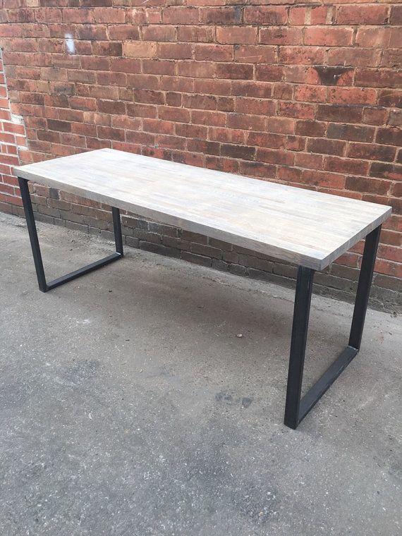 Industrial Chic Custom Solid Oak Office Desk Table Steel Steel