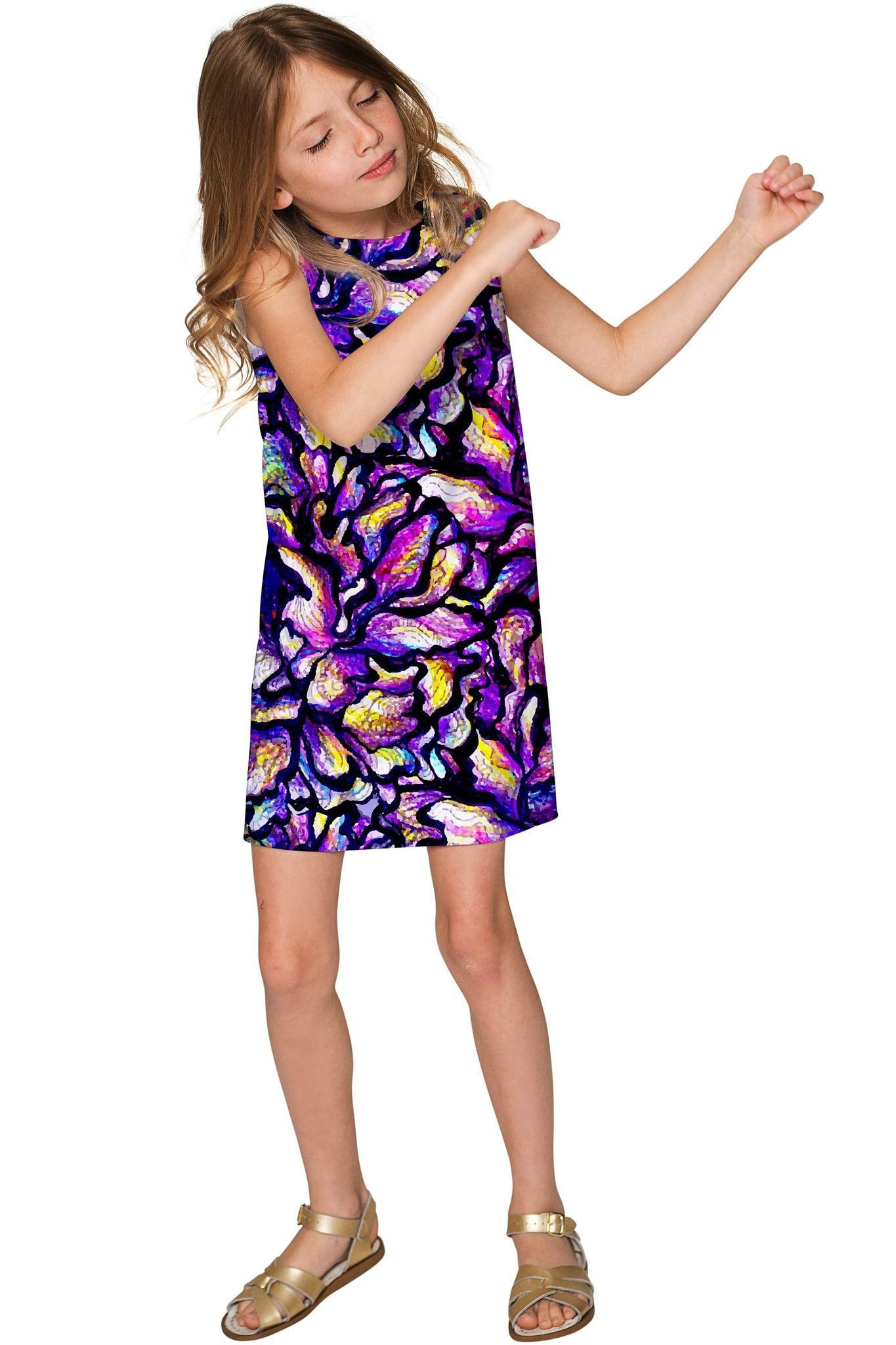 Make a Wish Adele Purple Printed Shift Party Dress - Girls ...