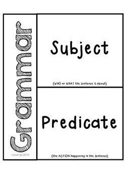 Grammar- Subjects Predicates Activity For Interactive