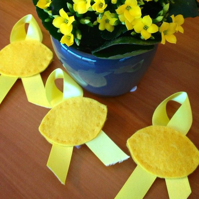 """Shout out to ALSF supporter Nusreen from the UK who made and sent us these adorable lemon ribbon pins! """