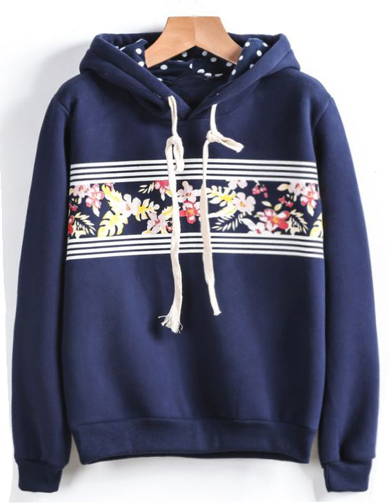 A must-have floral hoodie to get with free shipping&easy return Now! This printed sweatshirt is detailed with drawstring&raglan sleeve! So cute to get at Cupshe.com