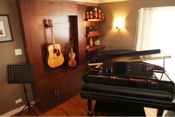 Stylish Music Room With Built Ins That Incorporate The Instruments Home Music Rooms Music Room Decor Music Room