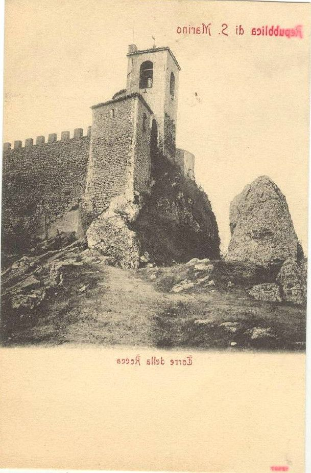 San Marino - The Rocca in 1898, postcard mistakenly printed in reverse