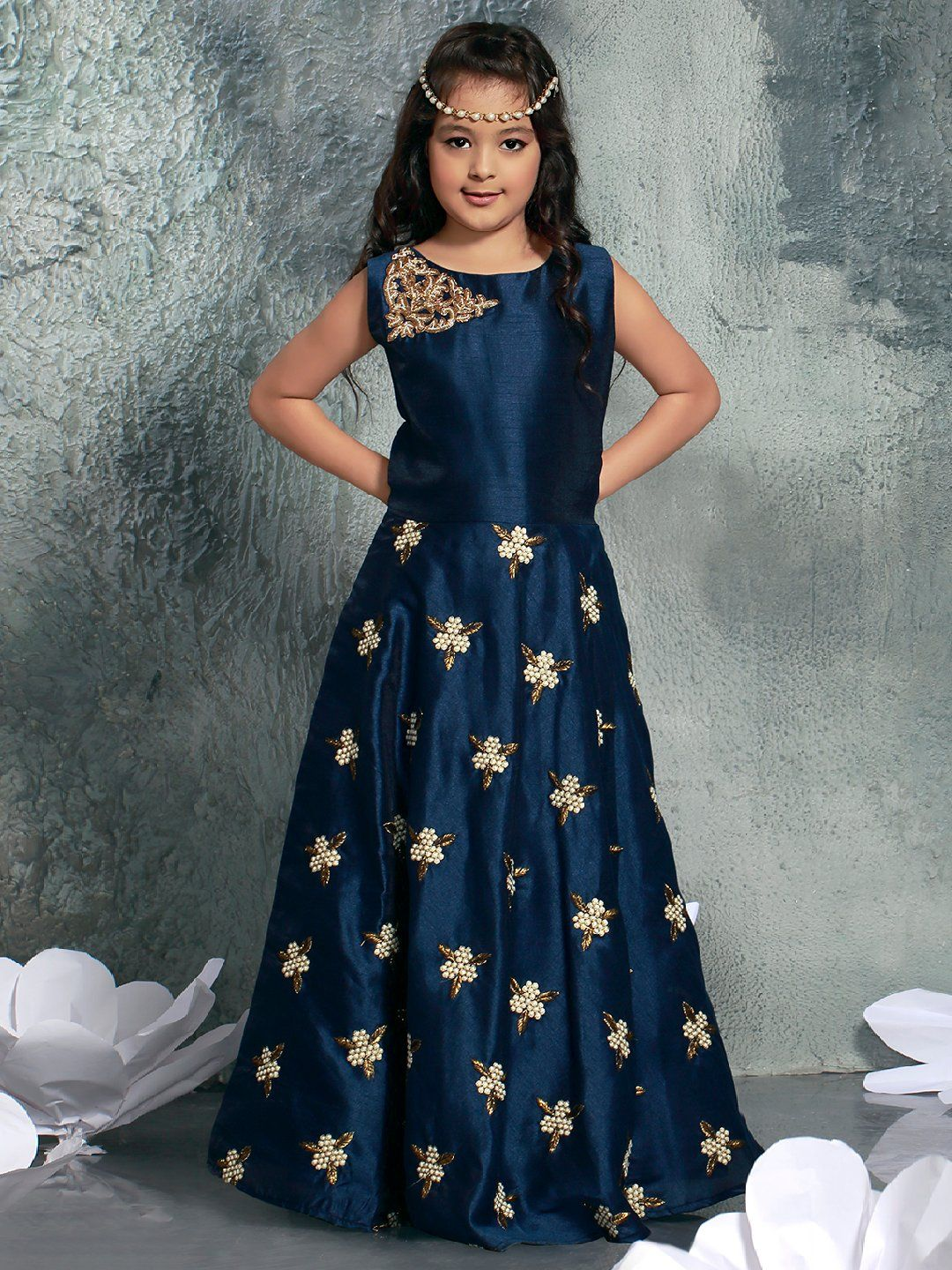 f8d9f79e32e Shop Navy hue silk party wear gown online from G3fashion India. Brand - G3