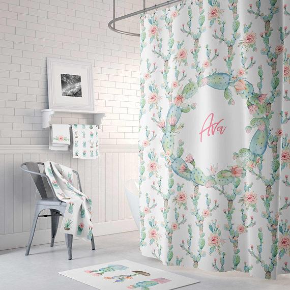 Desert Cactus Bloom Personalized Shower Curtain Custom Shower