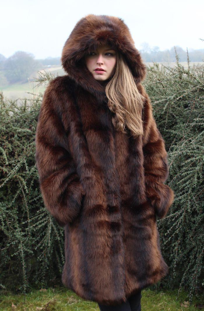 Fur hooded coat womens uk