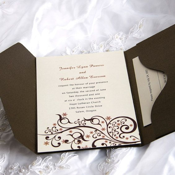 Exquisite Beautiful Swirls Pocket Wedding Invitations IWPS050 Online InvitesWeddings