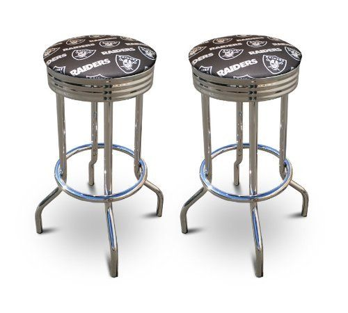2 Oakland Raiders Football Themed 29u0027u0027 Specialty Chrome Barstools Bar  Stools By The Furniture