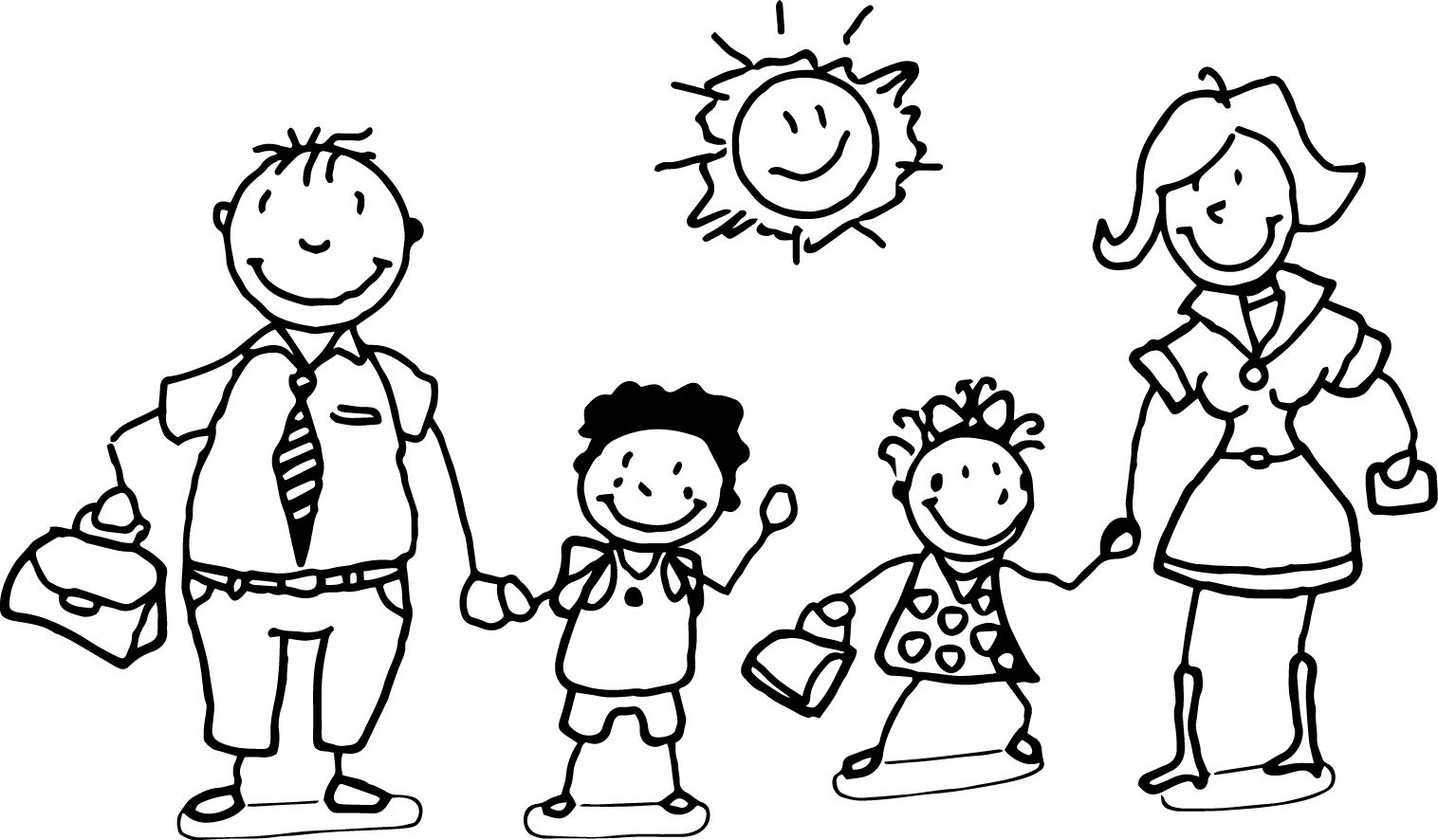 Happy Family And Children Coloring Page Family Coloring Pages