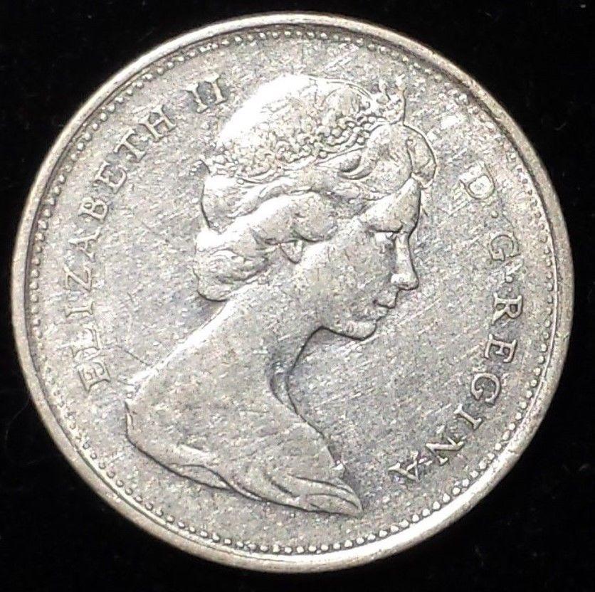 Silver 1968 Canadian Caribou 25 Cent Coin - Canada Quarter