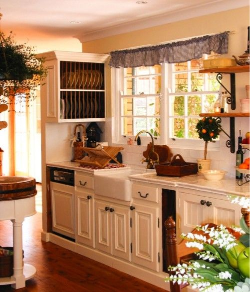 French Farmhouse Kitchen Design: This French Farmhouse Kitchen With Tiled Benchtop, Plate