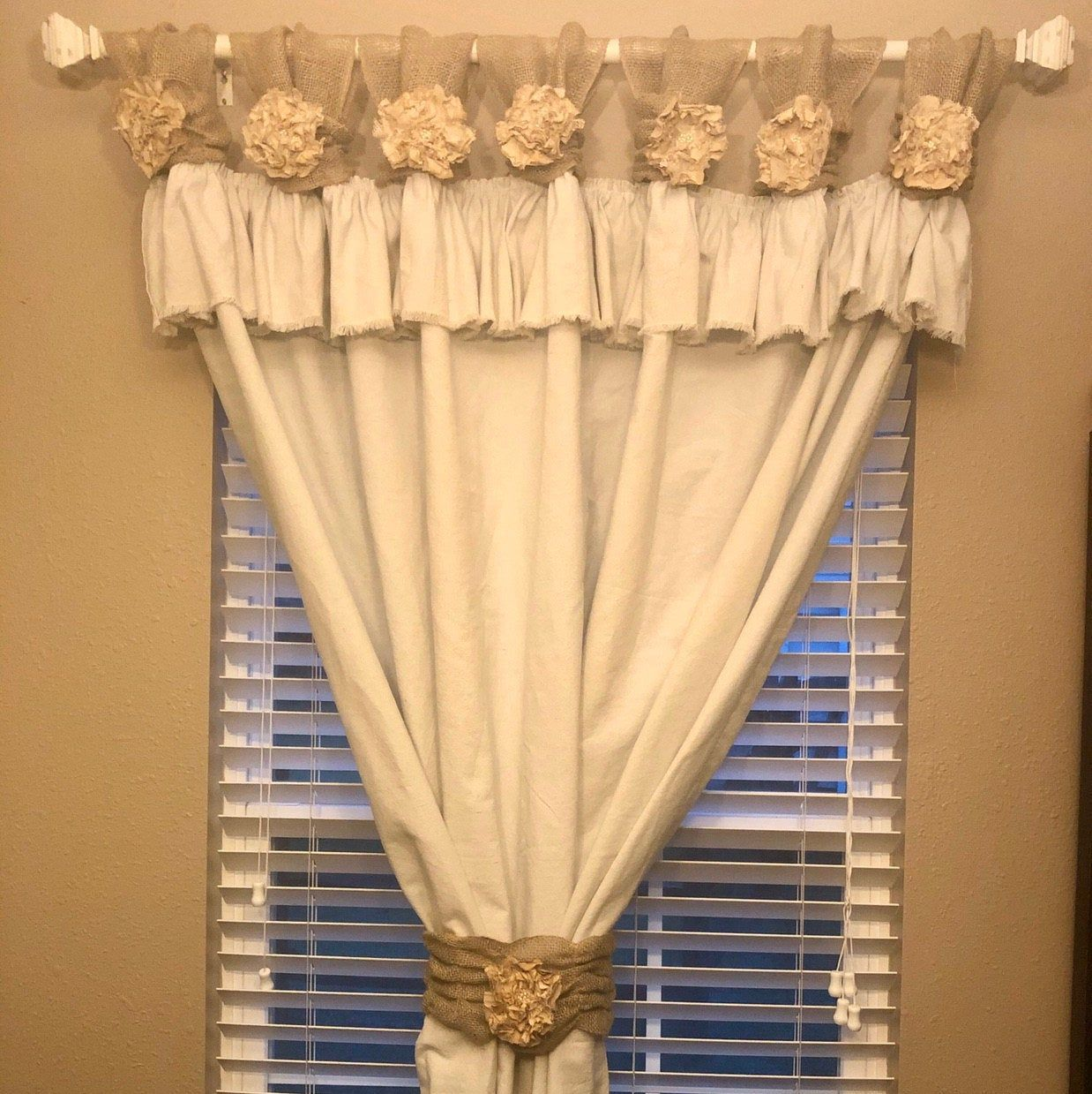 Burlap Wide Ruched Tabs Curtain Silver Jewelry White Burlap Ruffle Curtains Burlap Curtains White Linen Curtains