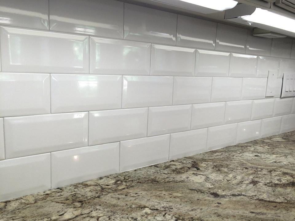 4x8 White Ceramic Beveled Subway Tile In Kitchen Backsplash View