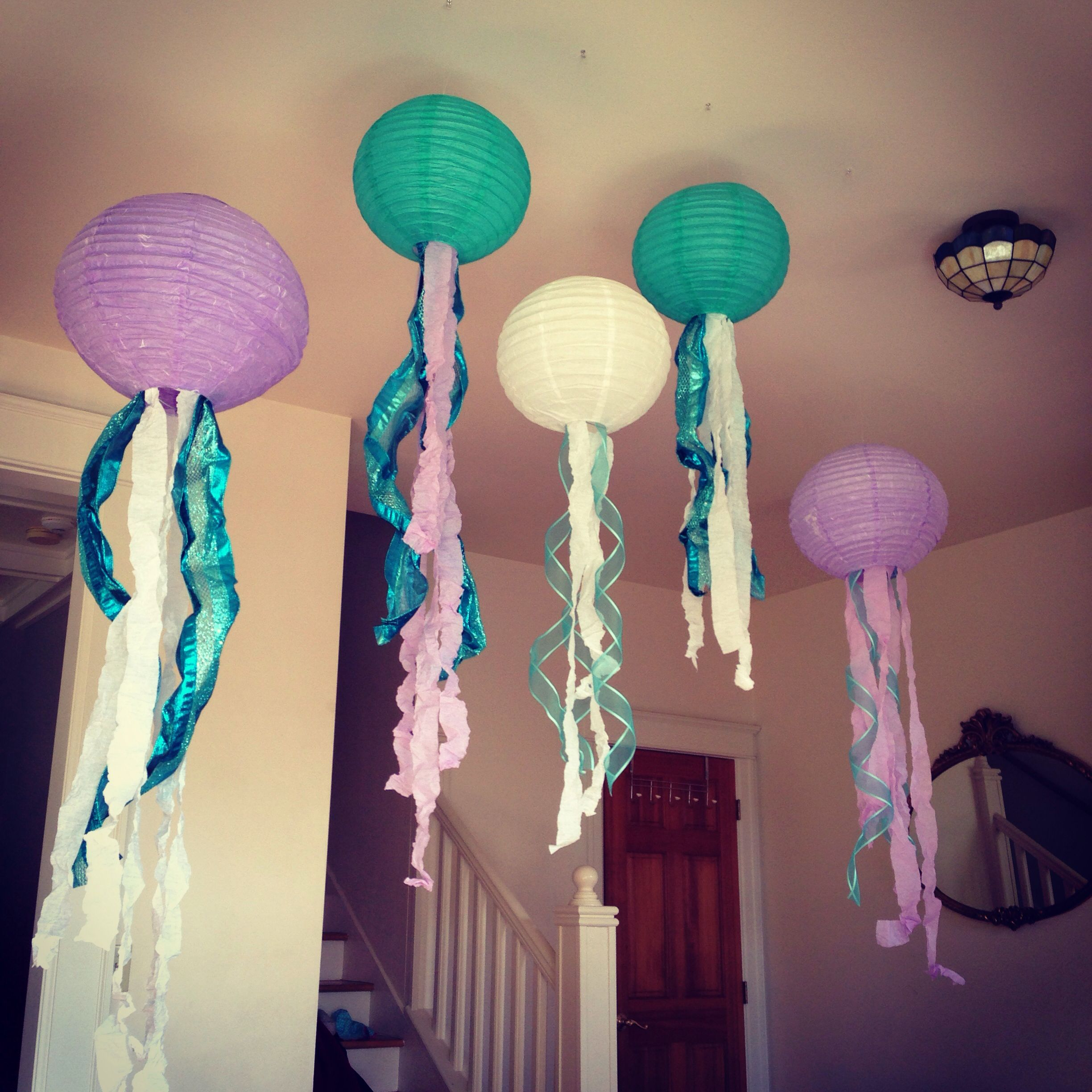 Jellyfish Decorations! Paper Lanterns, Wire-trim Ribbon