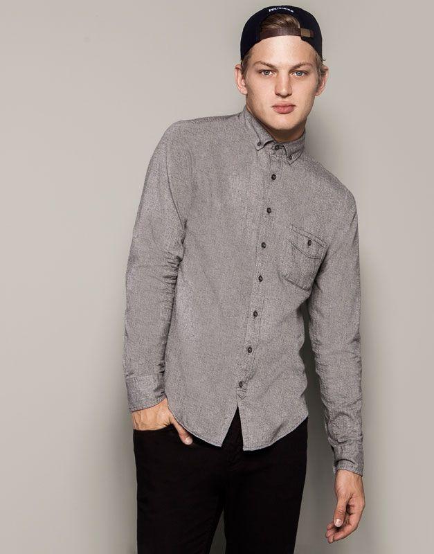 Pull&Bear - hombre - camisas - camisa manga larga - gris vigo - 09472507-I2014