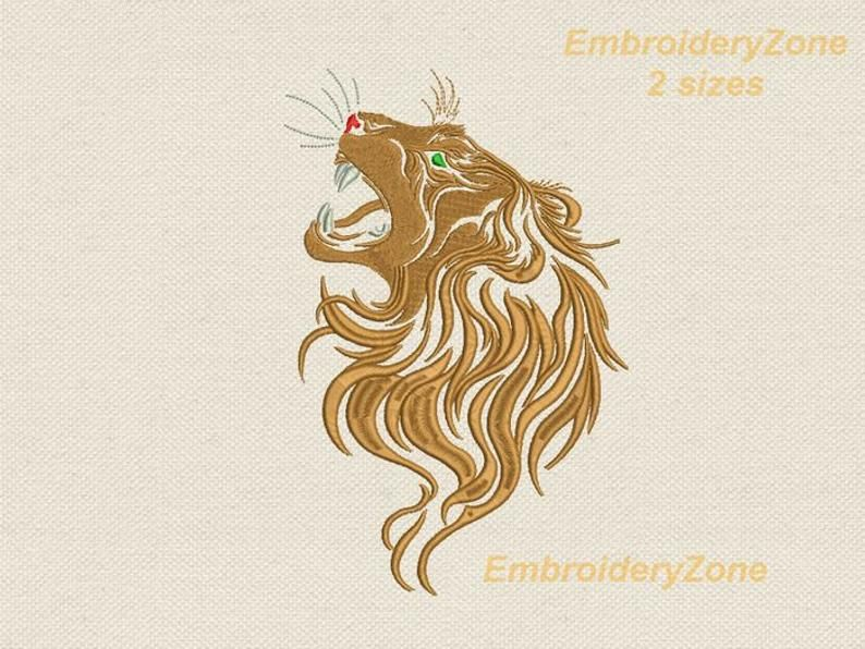Royal lion machine embroidery designs animal wild cat Logo Gryffindor. Embroidery pattern House Lannister Game of Thrones leo. 2 sizes
