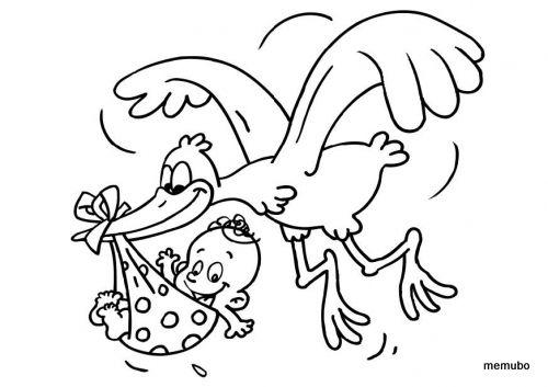 Pin Von Lucie Majova Auf Baby Card Stamps Ausmalbilder Zum Ausdrucken Kostenlos Ausmalbilder Storch Bilder