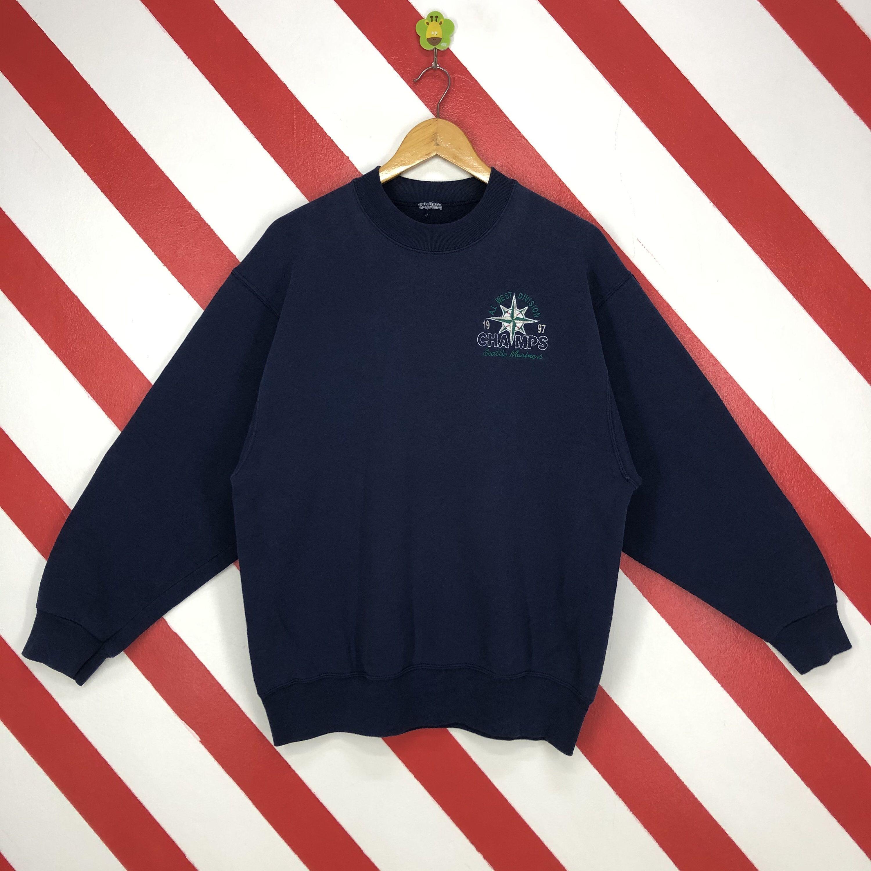 Vintage 90s Seattle Mariners Sweatshirt Mariners Crewneck Etsy Embroidery Logo Sportswear Fashion Long Sleeve Tshirt Men [ 3000 x 3000 Pixel ]