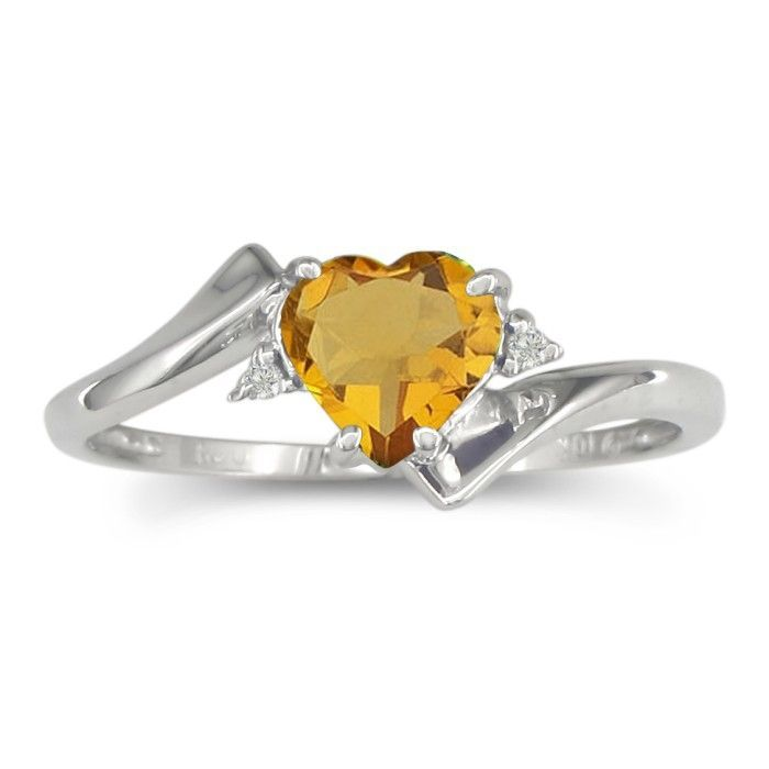 1 2ct Heart Shaped Citrine And Diamond Ring In 10k White Gold White Gold Rings Garnet And Diamond Ring Amethyst Birthstone