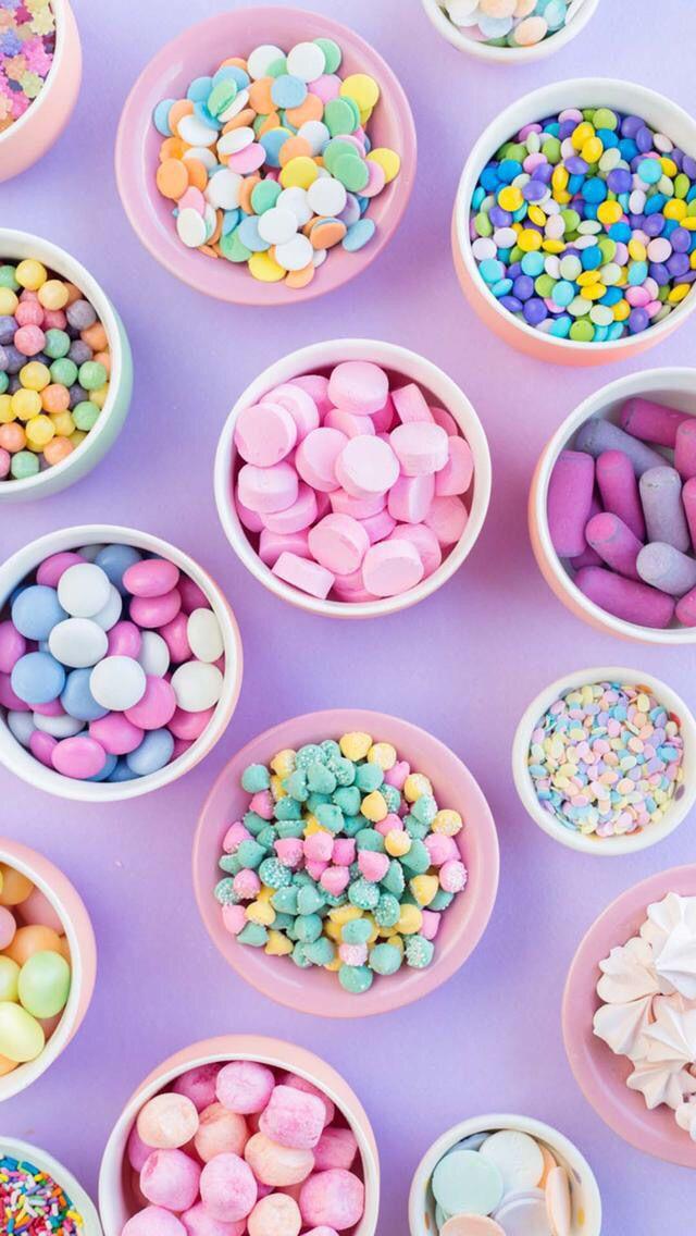 Wallpaper Iphone Fond D Ecran Nourriture Bonbons Colores Desserts Colores