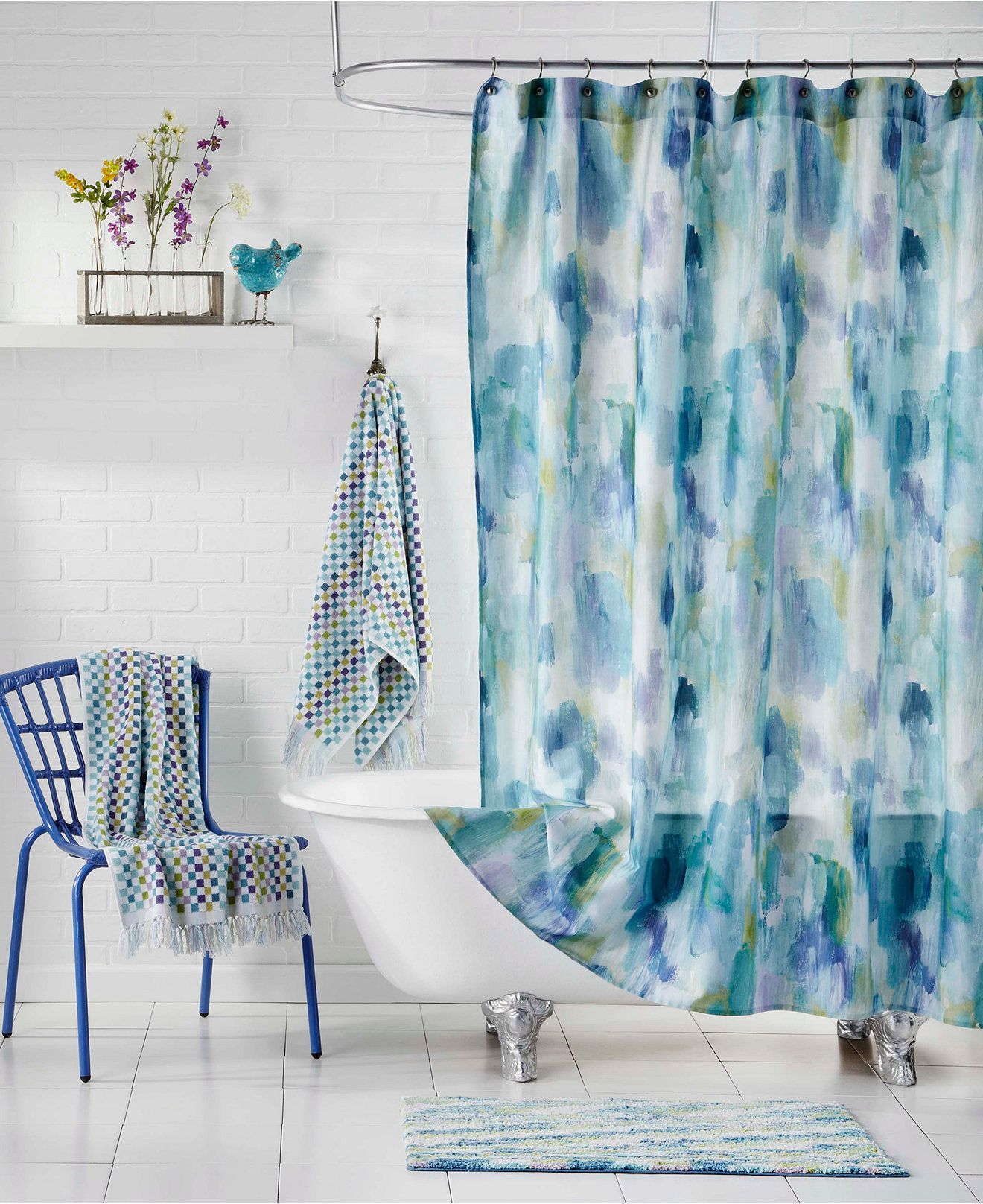 Bluebellgray Cameron Teal Shower Curtain