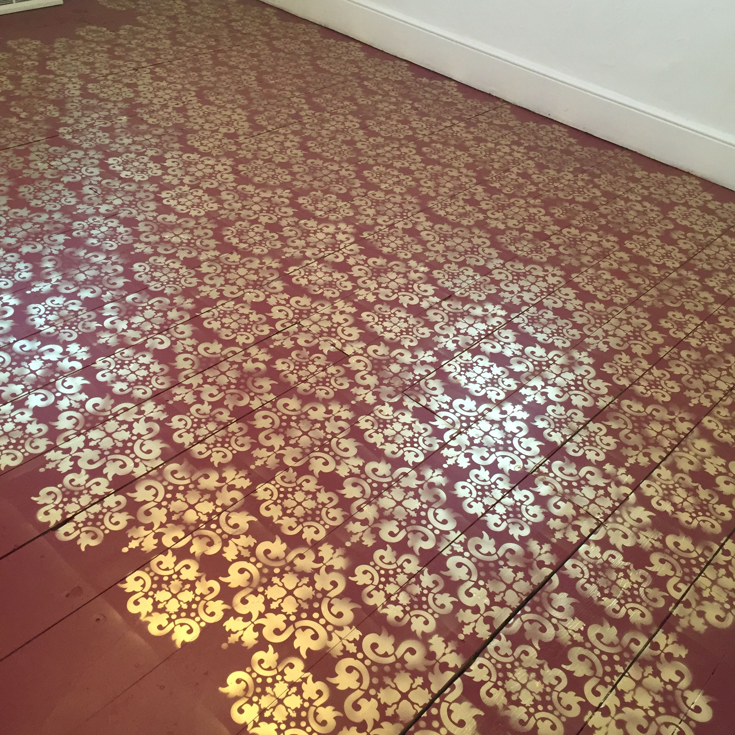 Red And Gold Stenciled Floor For Less Than 100 Behr Porch Floor