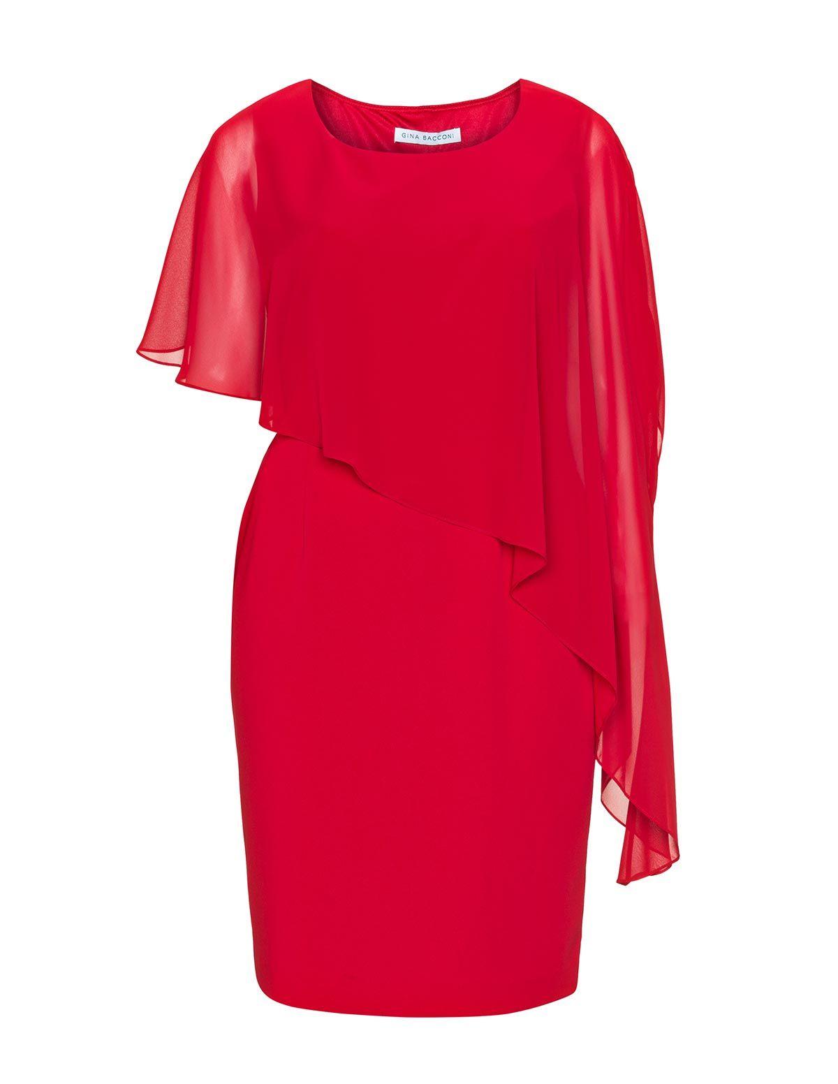 Gina Bacconi Cocktailkleid mit asymmetrischen Ärmeln in Rot ...