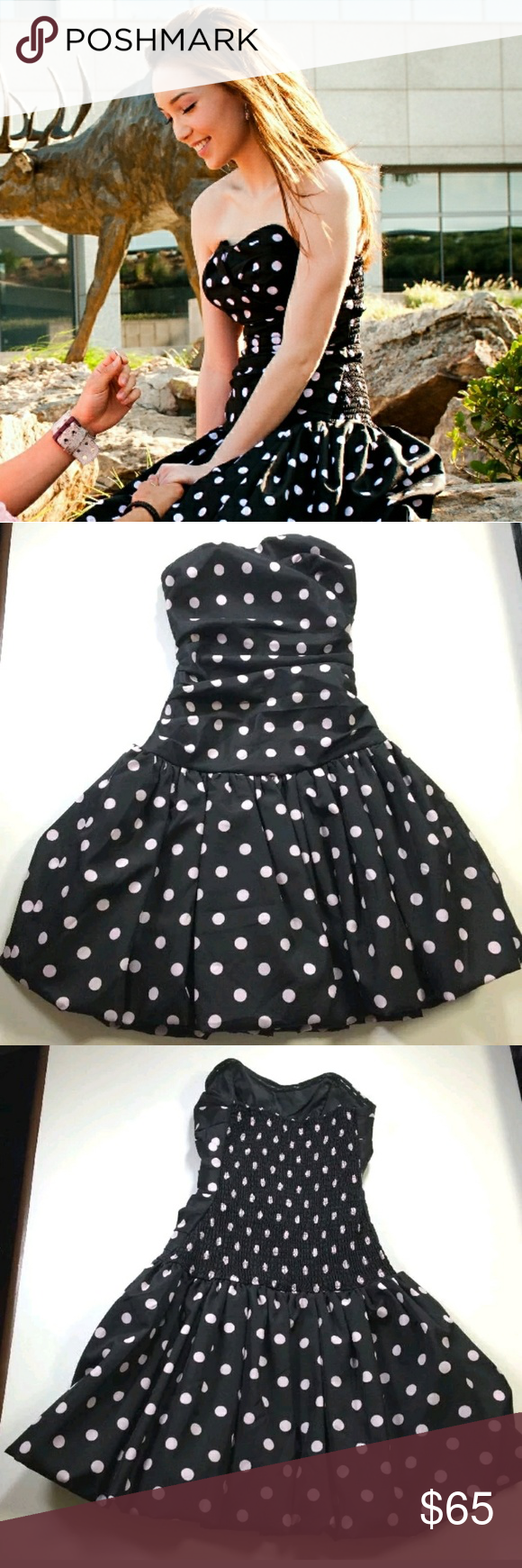 4ca865789f Luella for Target Black w  Pink Polka dots Dress EUC - Only wore this once  for my engagement photoshot. No stains