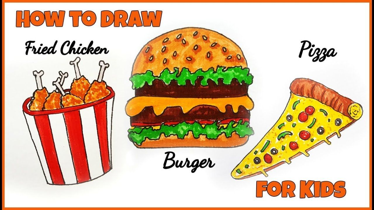 How To Draw Burger For Kids Easy Drawing Burger How To Draw Fried
