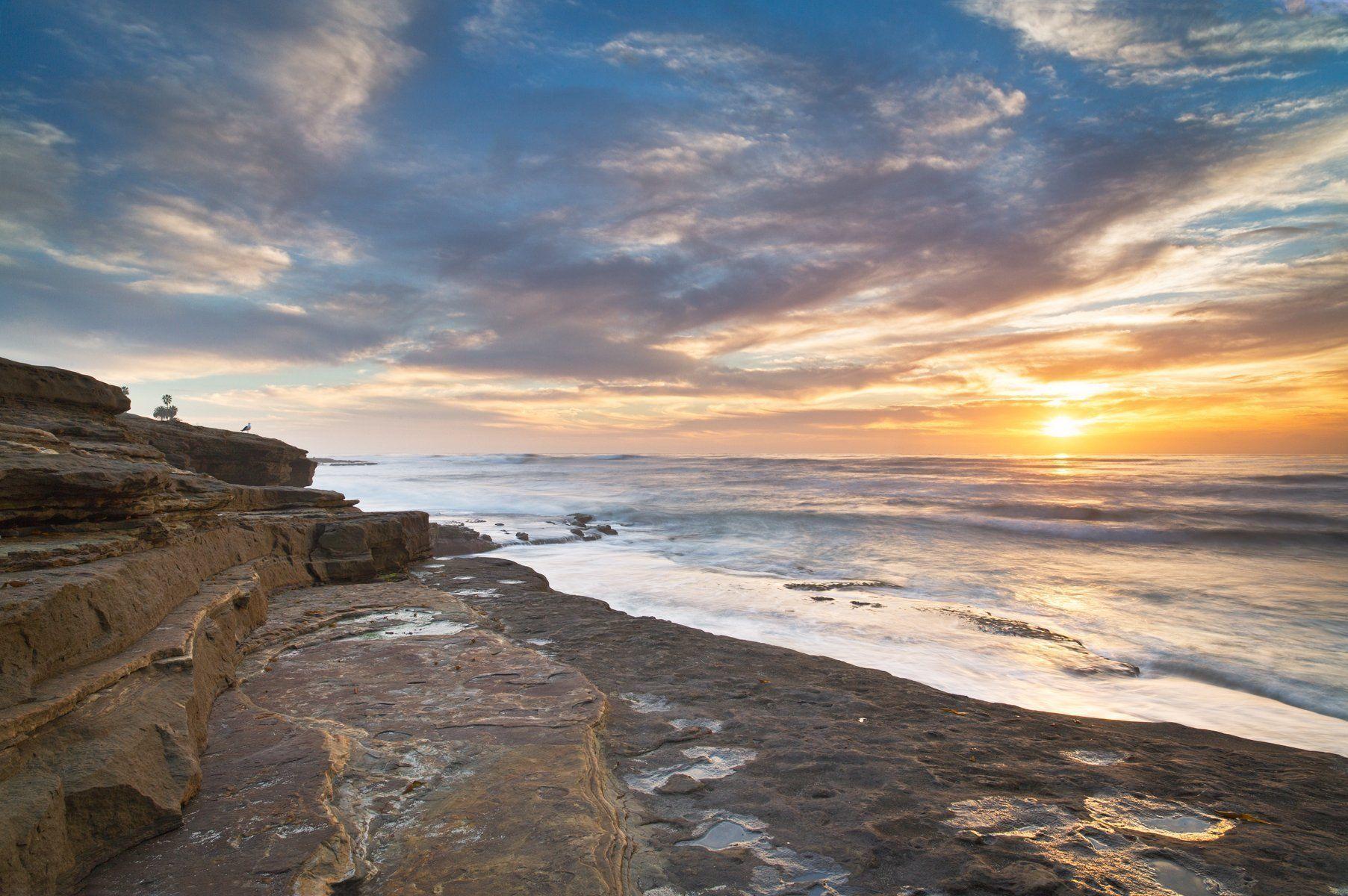 Warm Setting Sun Ocean California Coastal Ocean Fine Art  # Muebles Gayro Cadiz