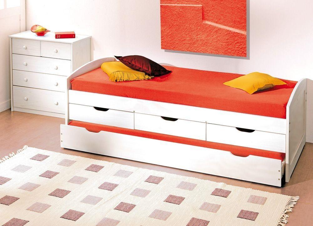 Bett Kinderbett Spiel Funktionsbett Ulli 90 X 200 Kiefer Weiss Mit