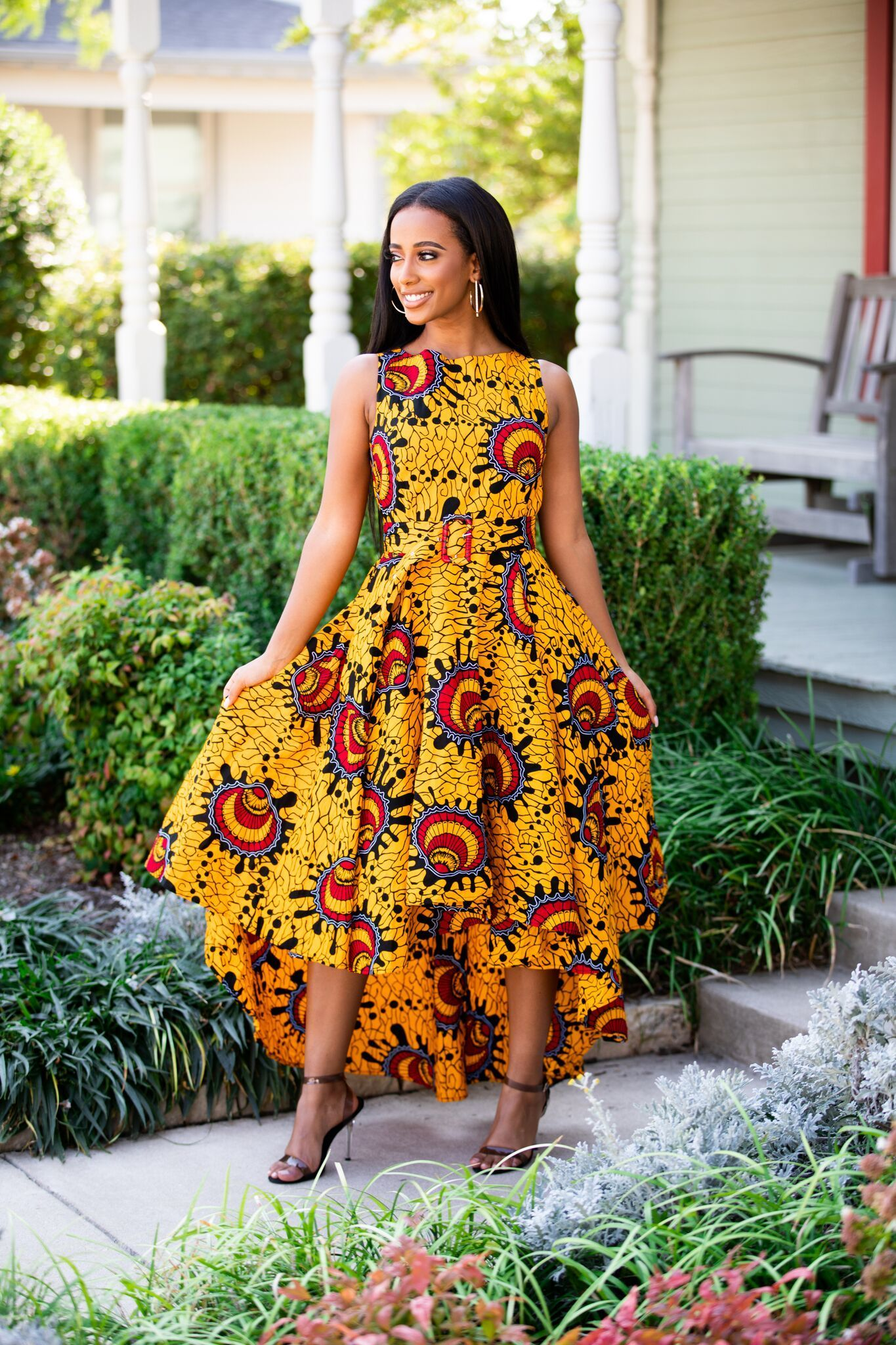 Stay stylish in the our Sade African print mini dress with puff sleeves in the yellow navy multipattern. The Sade dress is a statement piece. Rock this piece with your favorite wedges or sandals for the perfect summer look. Description: Inserted pockets sleeveless 100% Cotton Ankara Ships Fast Care: Hand wash separately. Use mild detergent. Do not bleach. Hang to dry. Iron inside out.