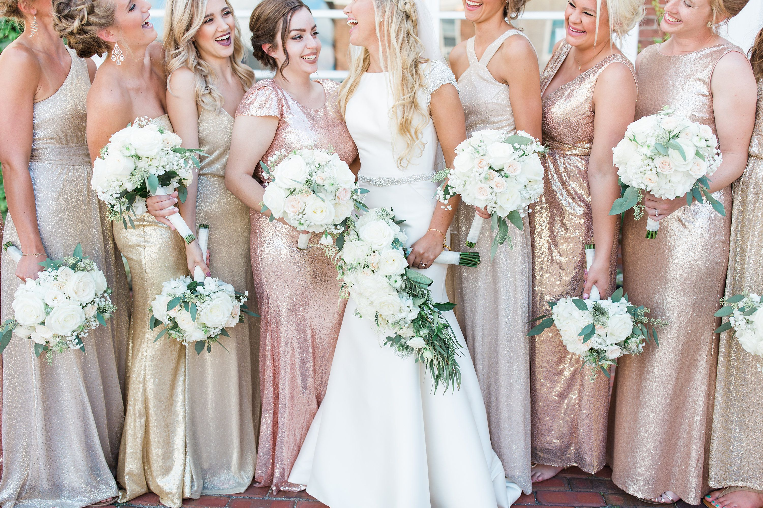 Mismatched Bridesmaid Dresses White Roses Flowers Gold Champagne