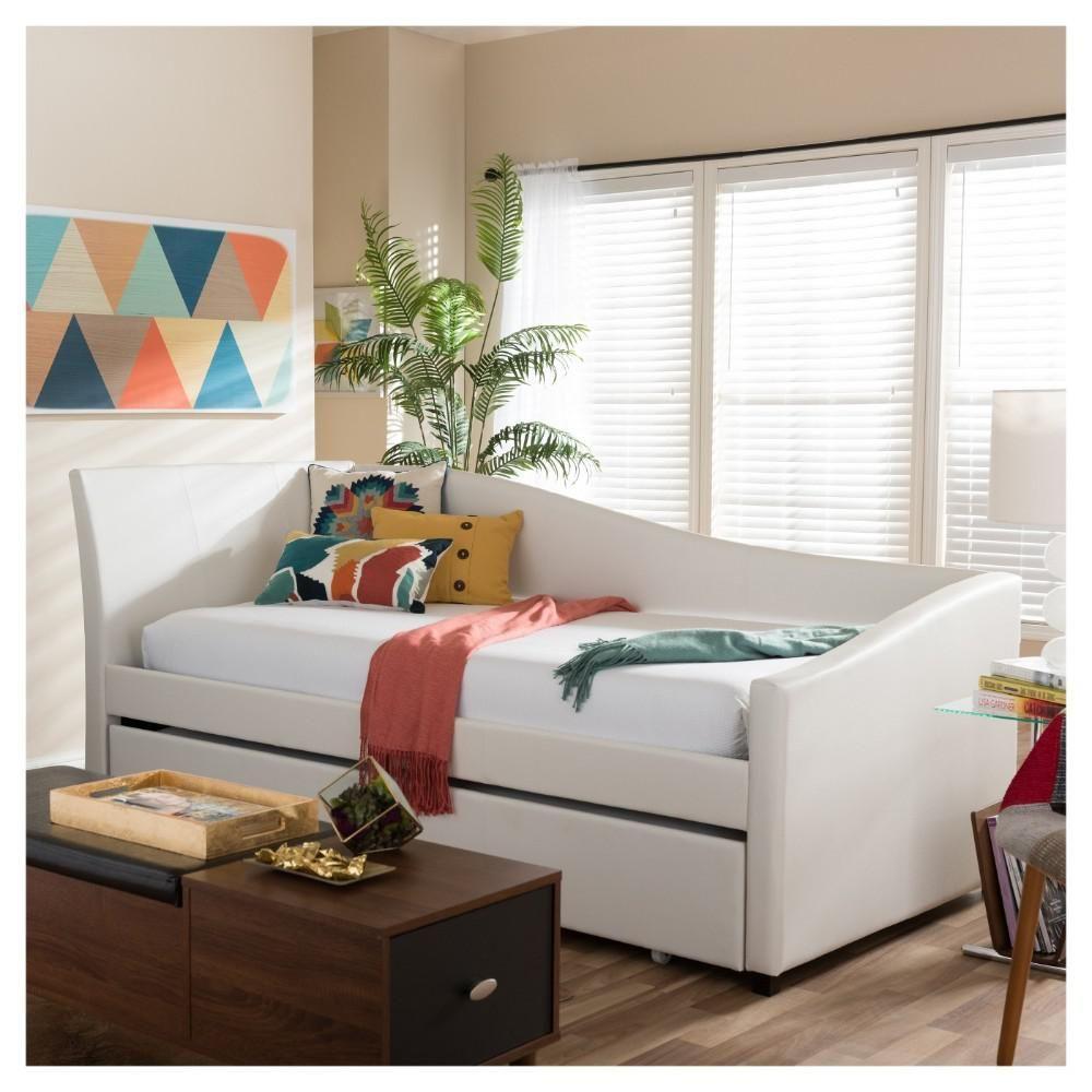 Baxton studio vera contemporary white faux leather