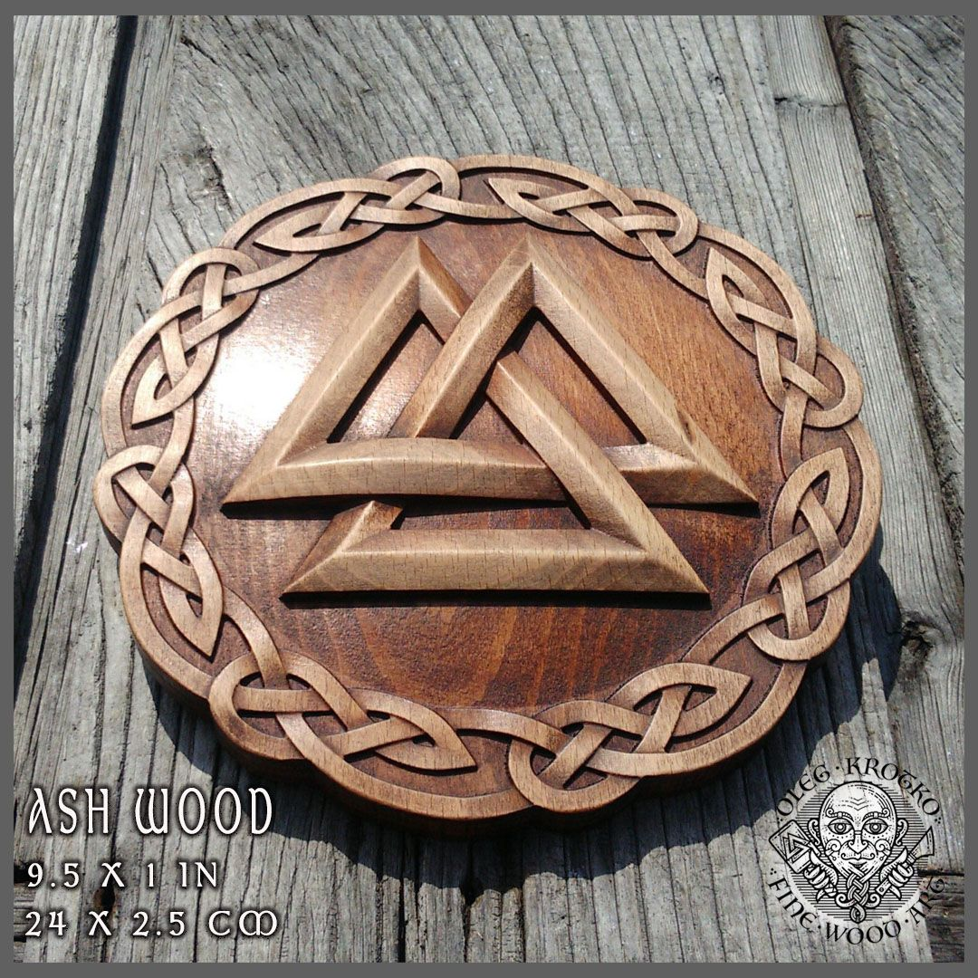 Walknut Viking Home Decor Knotwork Art Norse Thor Odin Wood Picture Pagan S Carving Heathen Asatru Celtic Rune Wall Hanging