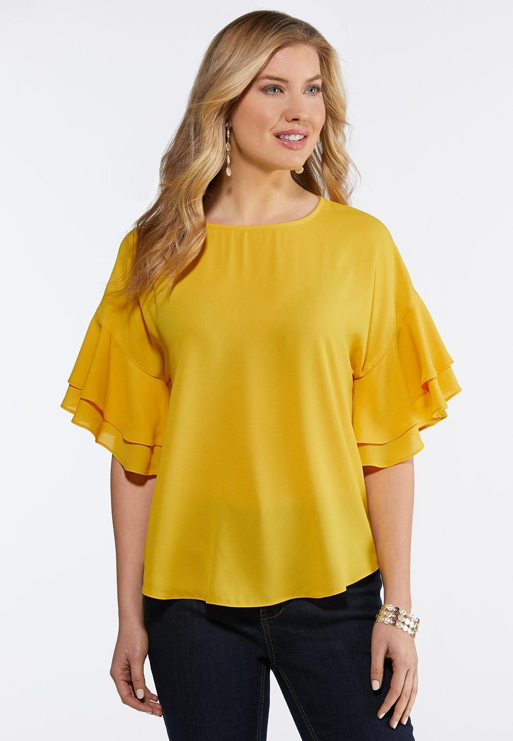 66d04b2be8a Plus Size Citrus Ruffled Sleeve Top Tops Cato Fashions in 2019 ...