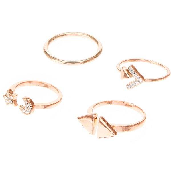 7b48e1acb Rose Gold Moon Star Stackable Rings ($5) ❤ liked on Polyvore featuring  jewelry, rings, artificial jewellery, star jewelry, fake jewelry, rose gold  ring and ...