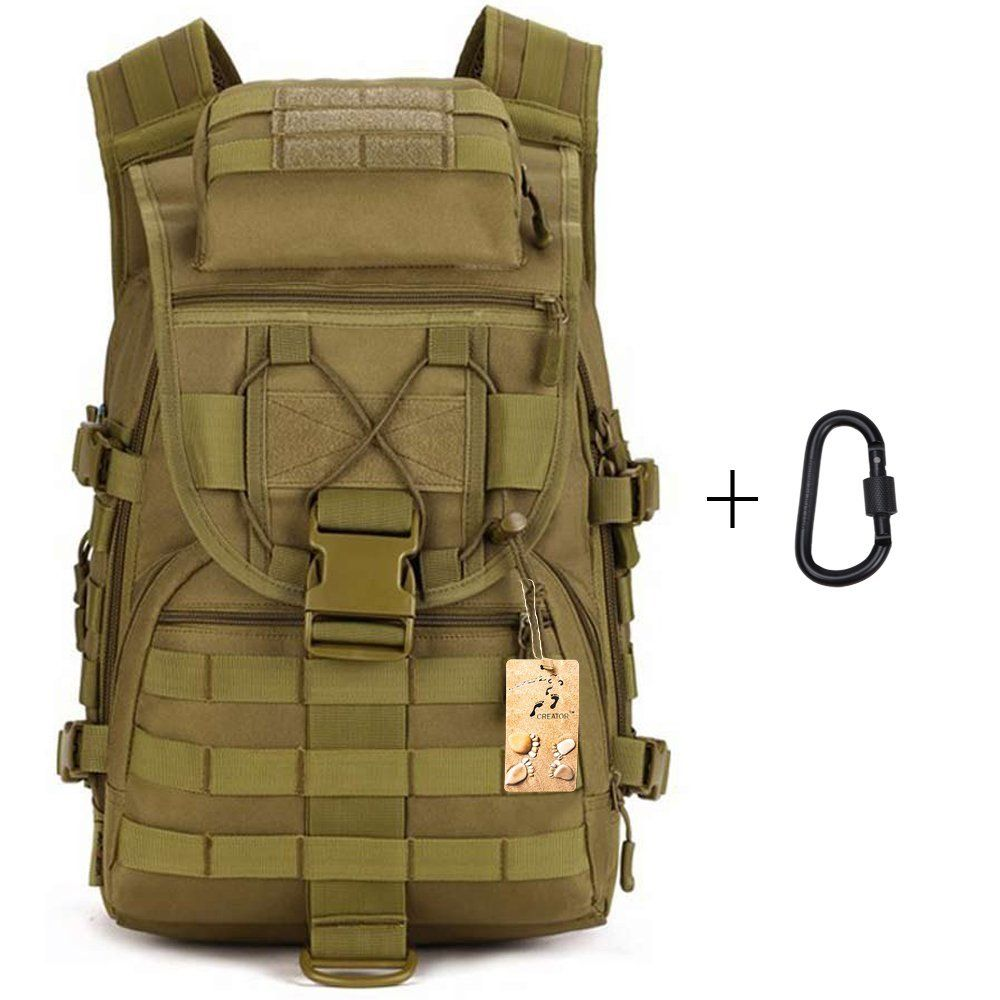 40L Tactical Backpack Large Sport Military Backpack Gear Assault Pack MOLLE Bag Digital Rucksacks Camping with Carabiner for Outdoor Hiking Climbing Trekking War Game >>> Discover this special product, click the image : Backpacking gear