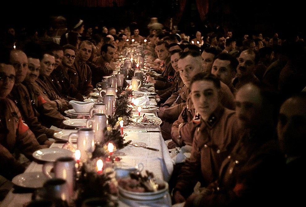 The officers and cadets from the army of Hitler celebrating Christmas, 1941.