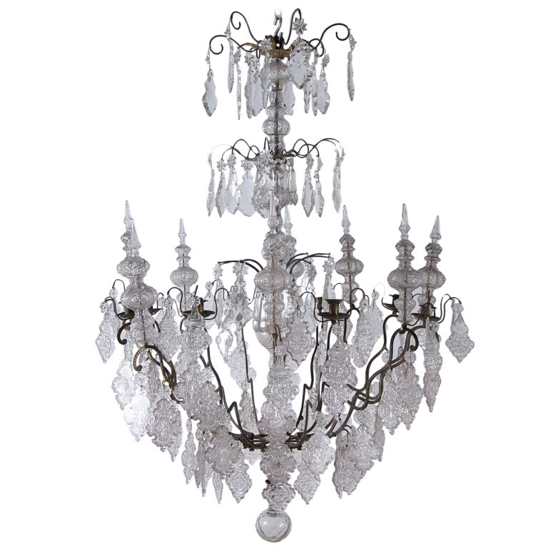 18th Century French Antique Crystal Ecclesiastical Chandelier ...