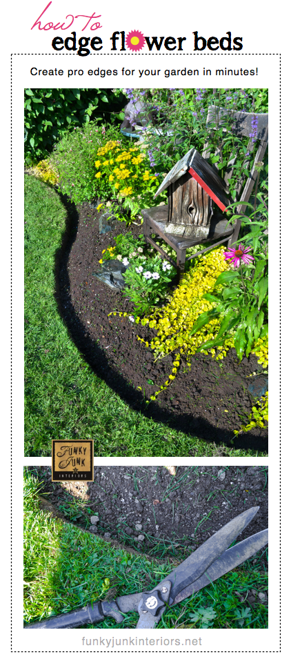 How to edge flowerbeds like a pro in minutes! - via Funky Junk Interiors