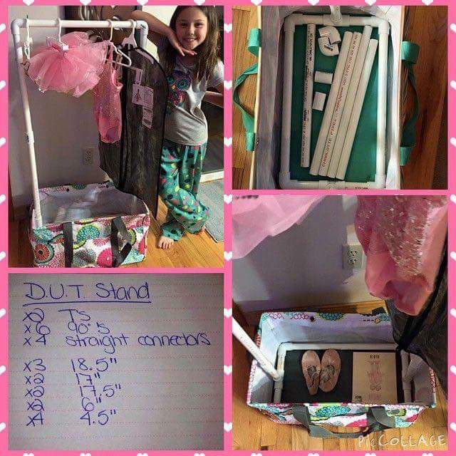 You make the rack part to fit in a large utility tote. Add a piece that goes over a hanger that has a pocket on it, or a shoe hanging bag, that you can put hair accessories, tights, or any extra pieces to a costume and then hang the costume from it as well. You can personalize it with her name or what dance it is (tap jazz, ballet ect...) Thanks to Renee Ferrari-Van de Vyver for sharing her fabulous idea!